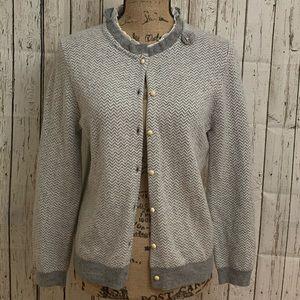 J. Crew Gray Cashmere Flower Cardigan Sweater | M